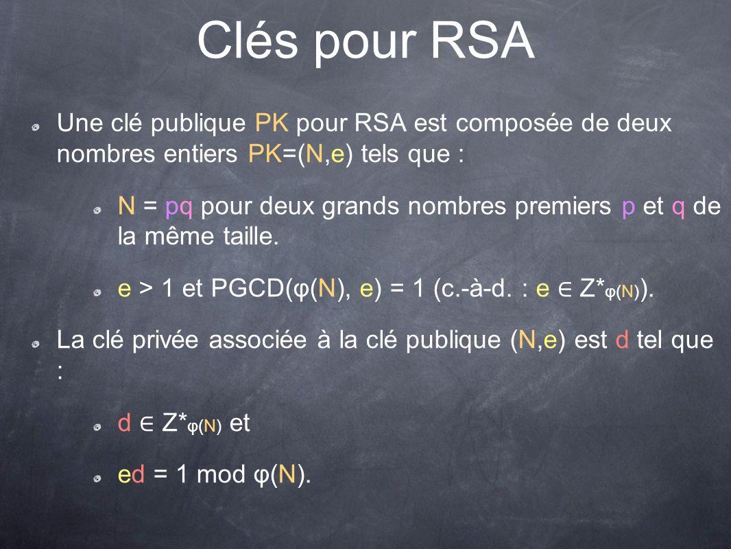 Clés pour RSA Une clé publique PK pour RSA est composée de deux nombres entiers PK=(N,e) tels que :