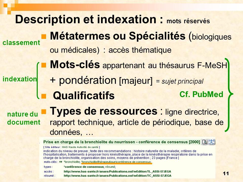 Description et indexation : mots réservés