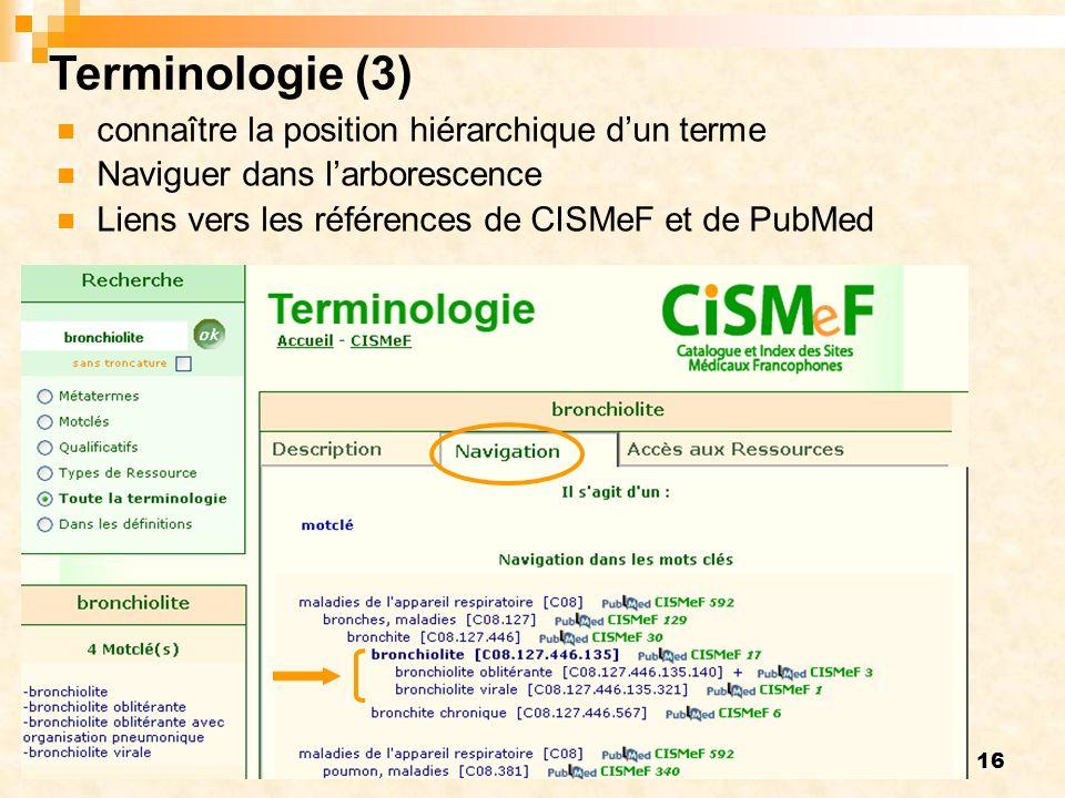 Terminologie (3) connaître la position hiérarchique d'un terme