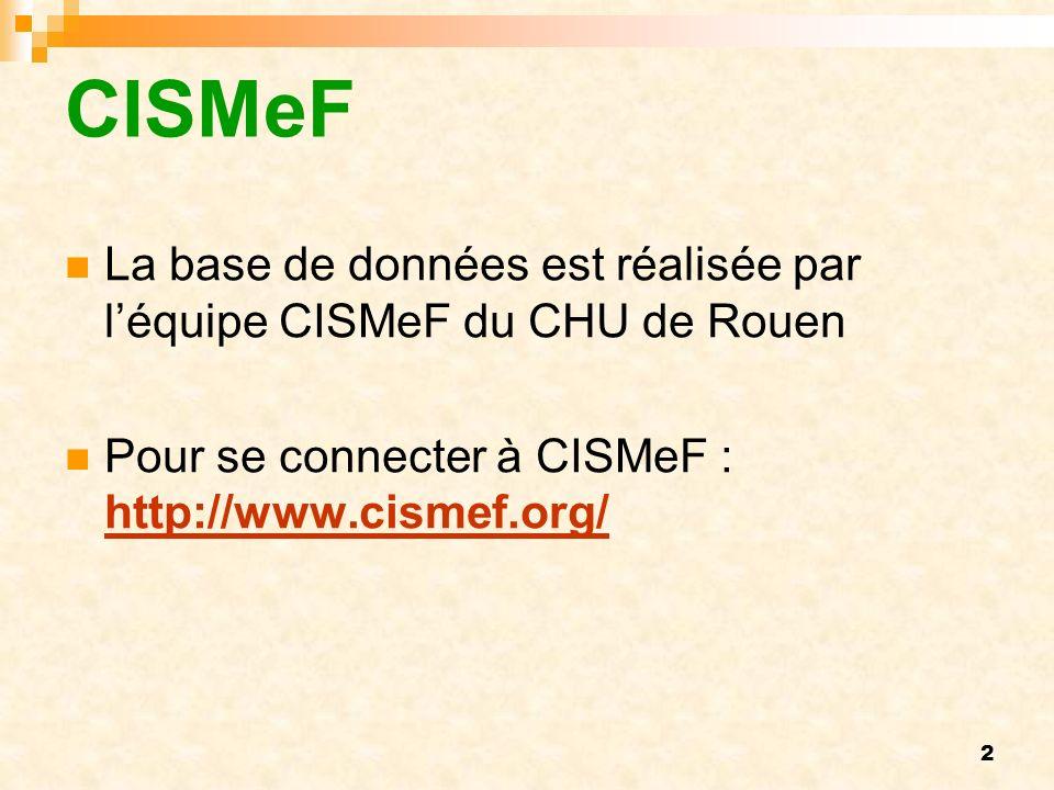 CISMeF La base de données est réalisée par l'équipe CISMeF du CHU de Rouen.