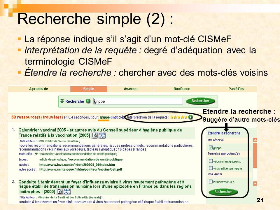 Recherche simple (2) : La réponse indique s'il s'agit d'un mot-clé CISMeF. Interprétation de la requête : degré d'adéquation avec la.