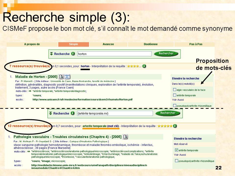 Recherche simple (3): CISMeF propose le bon mot clé, s'il connaît le mot demandé comme synonyme