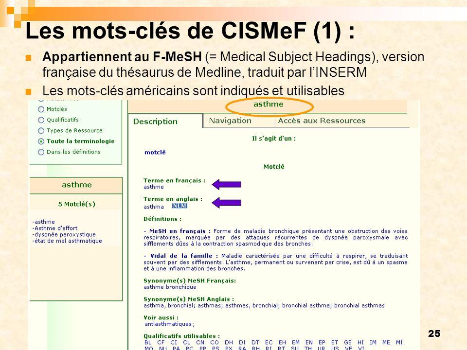 Les mots-clés de CISMeF (1) :