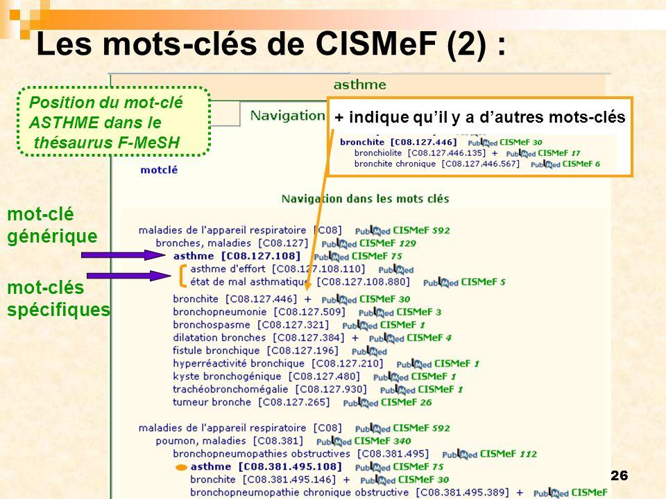 Les mots-clés de CISMeF (2) :