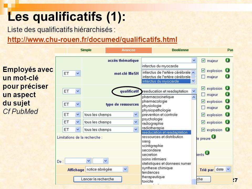 Les qualificatifs (1): Liste des qualificatifs hiérarchisés :