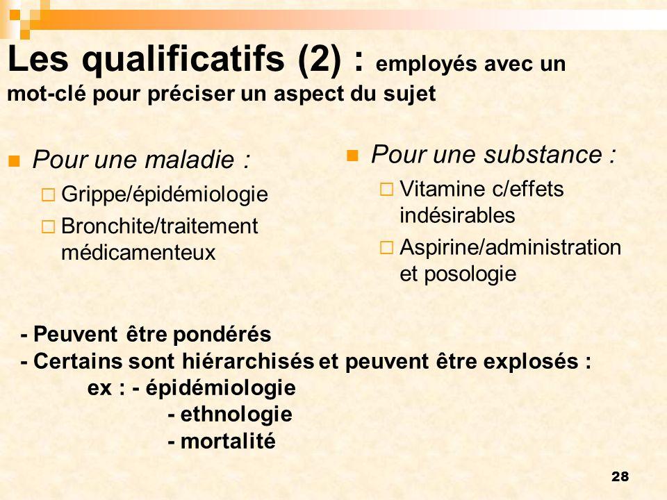 Les qualificatifs (2) : employés avec un mot-clé pour préciser un aspect du sujet