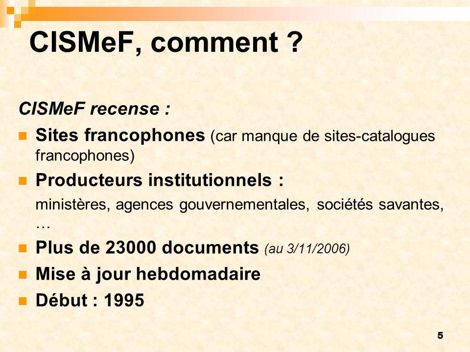CISMeF, comment CISMeF recense :