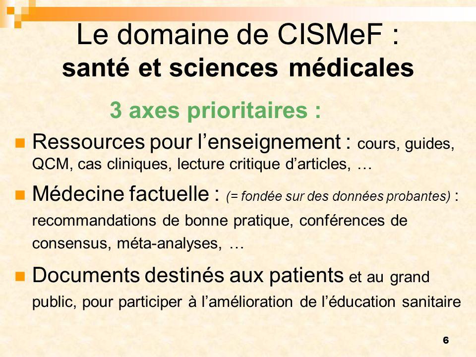 Le domaine de CISMeF : santé et sciences médicales