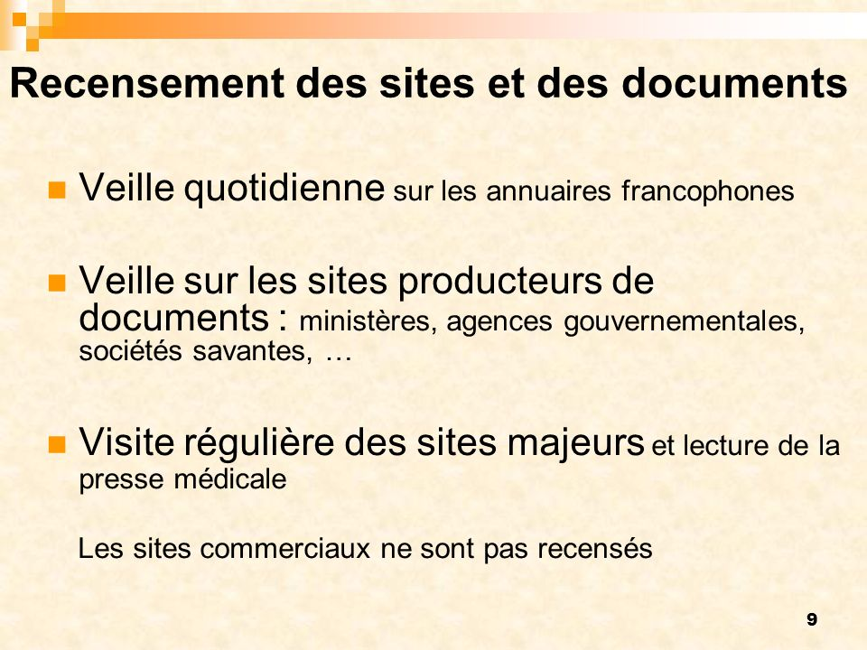 Recensement des sites et des documents