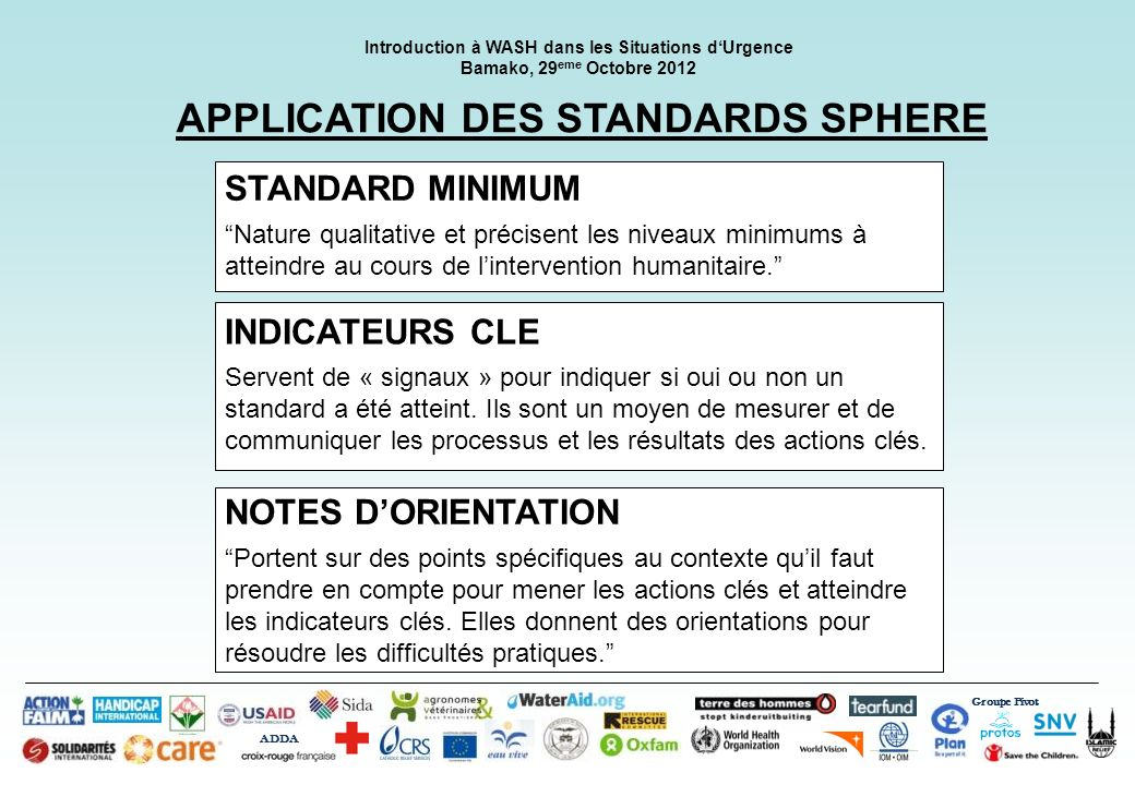 APPLICATION DES STANDARDS SPHERE