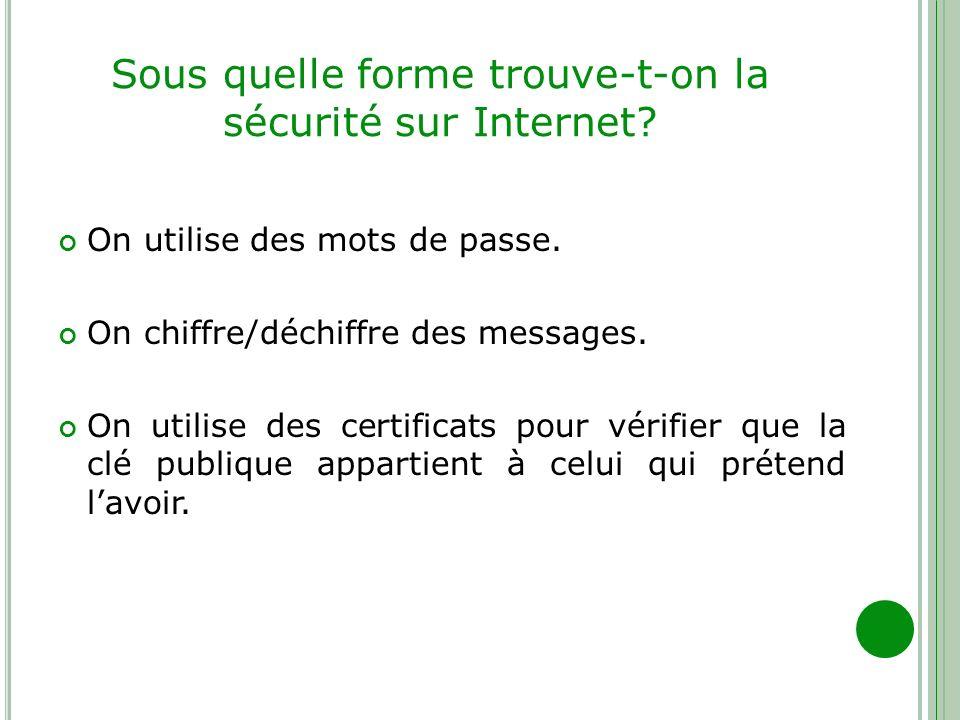 Sous quelle forme trouve-t-on la sécurité sur Internet