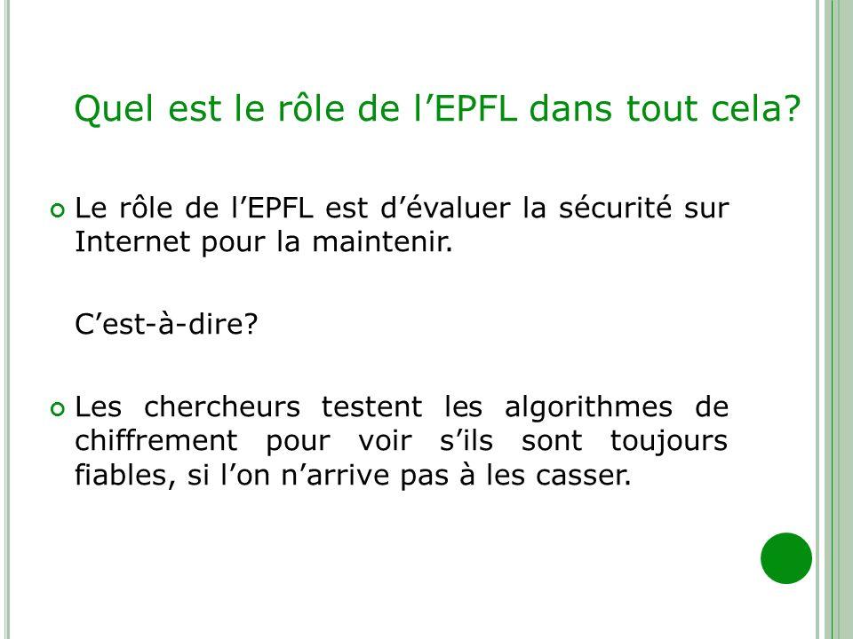 Quel est le rôle de l'EPFL dans tout cela
