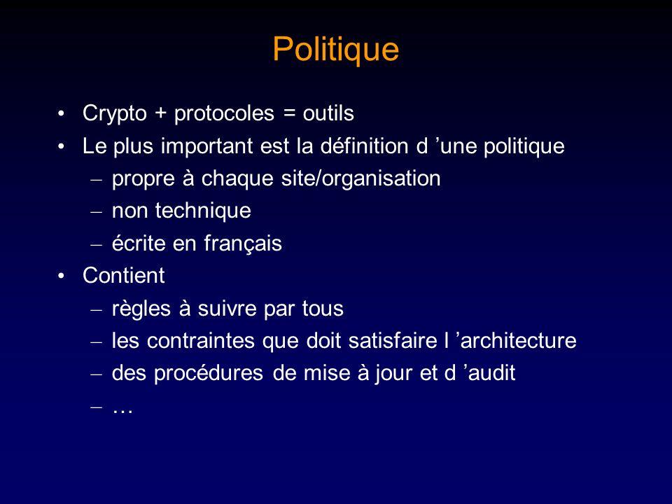 Politique Crypto + protocoles = outils