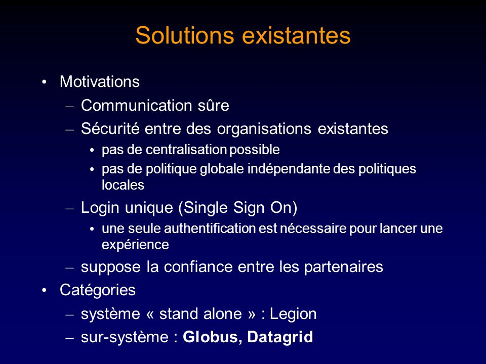 Solutions existantes Motivations Communication sûre