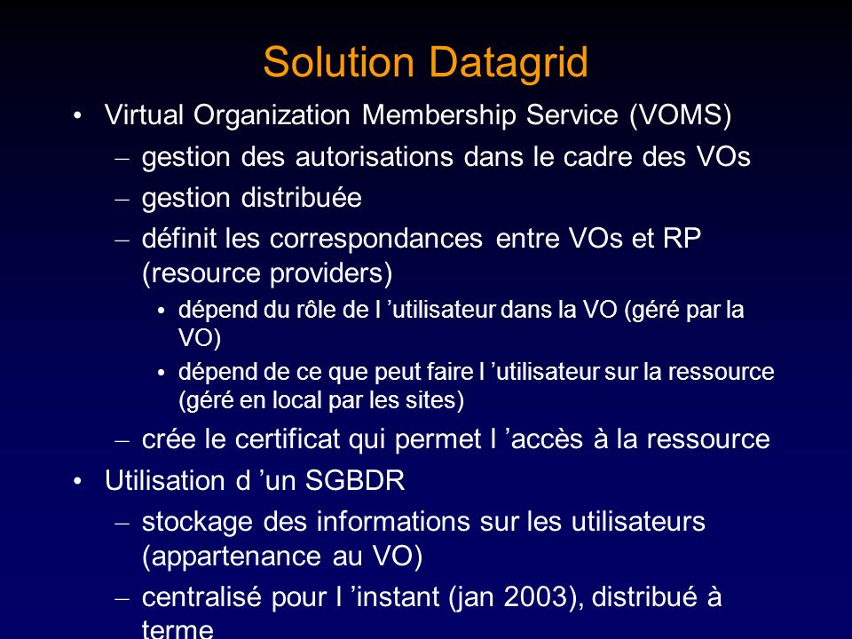 Solution Datagrid Virtual Organization Membership Service (VOMS)
