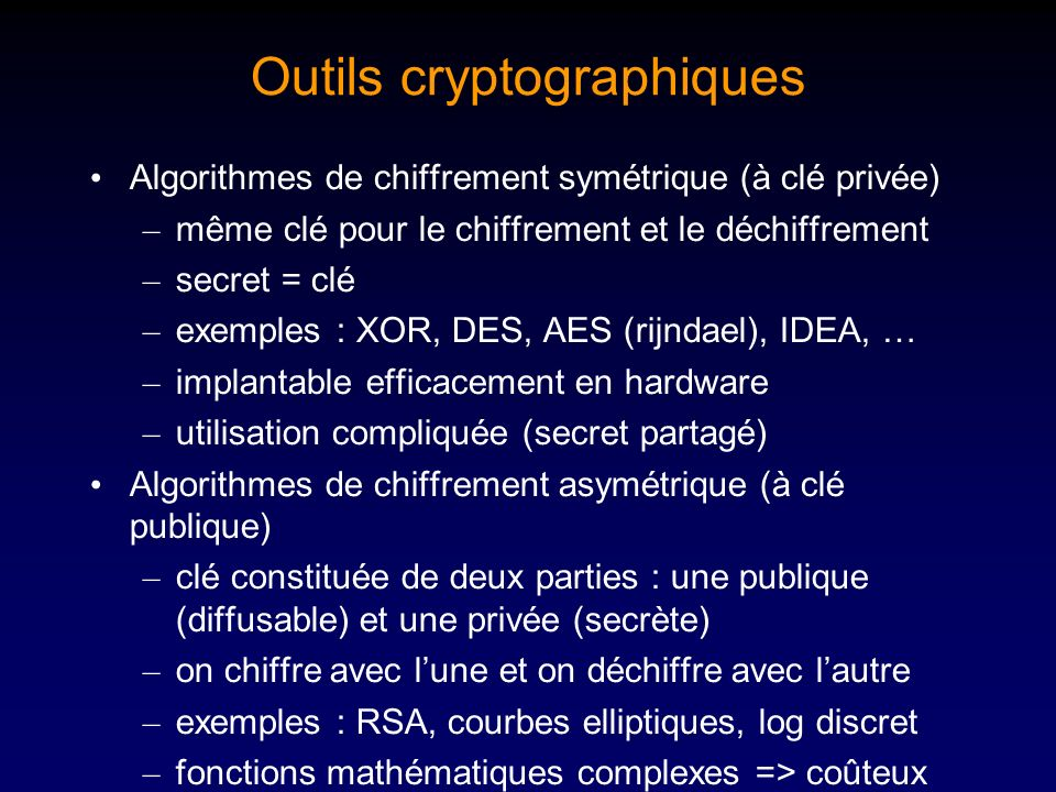 Outils cryptographiques