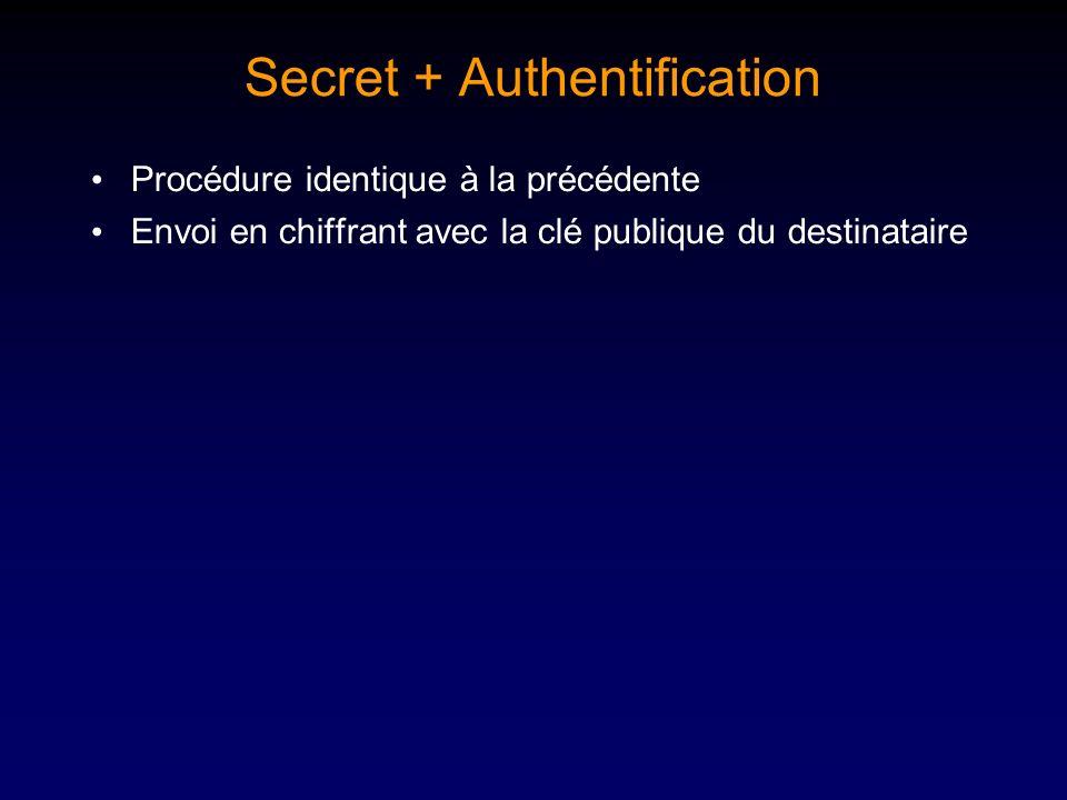 Secret + Authentification