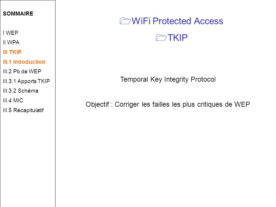 WiFi Protected Access TKIP Temporal Key Integrity Protocol