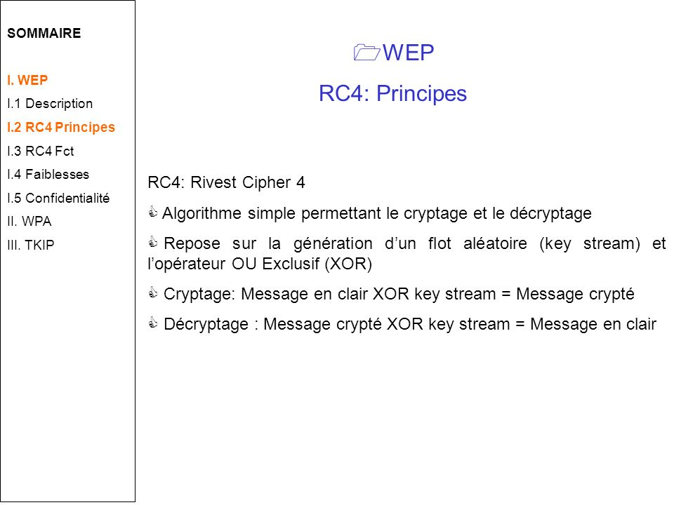 WEP RC4: Principes RC4: Rivest Cipher 4