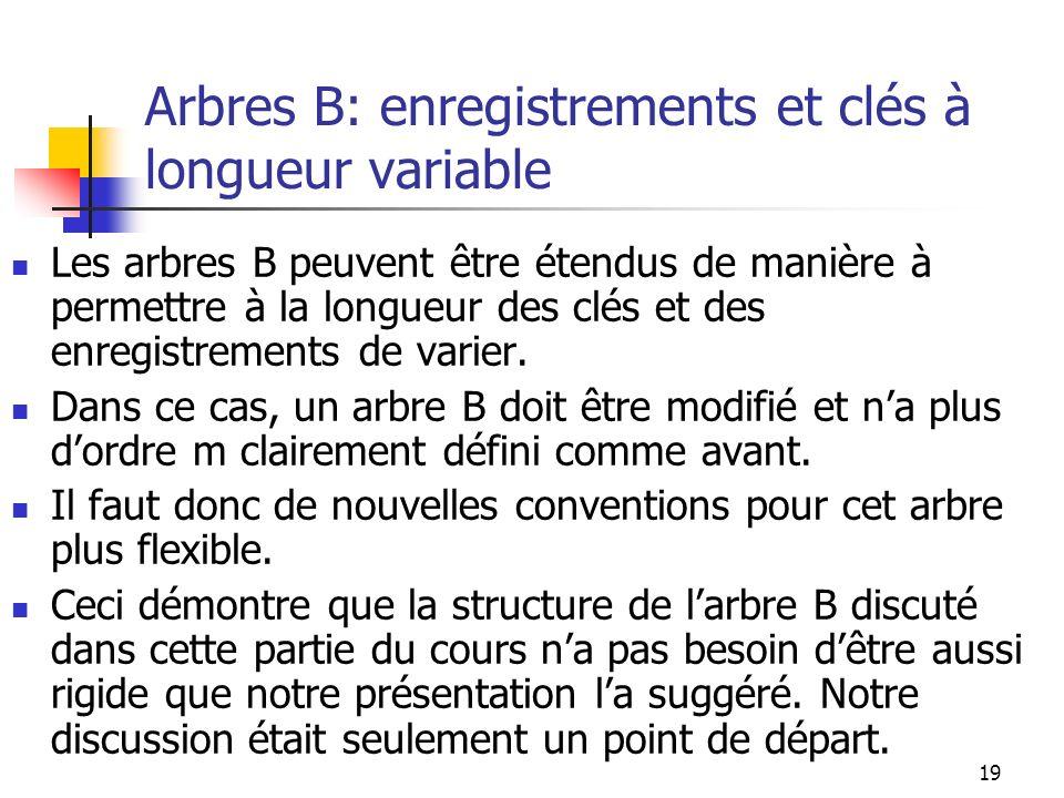 Arbres B: enregistrements et clés à longueur variable
