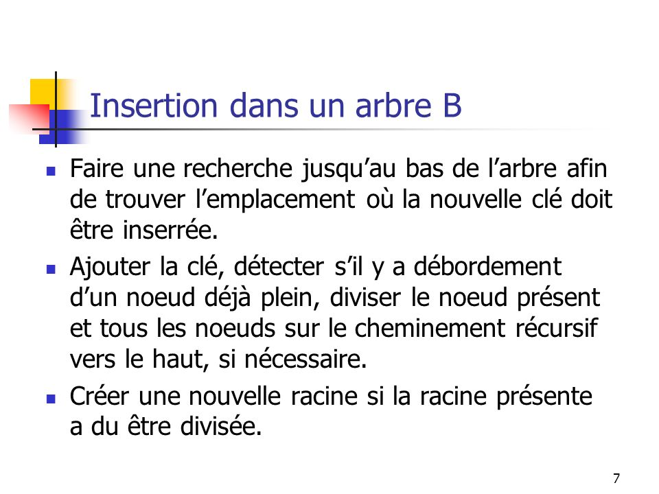 Insertion dans un arbre B
