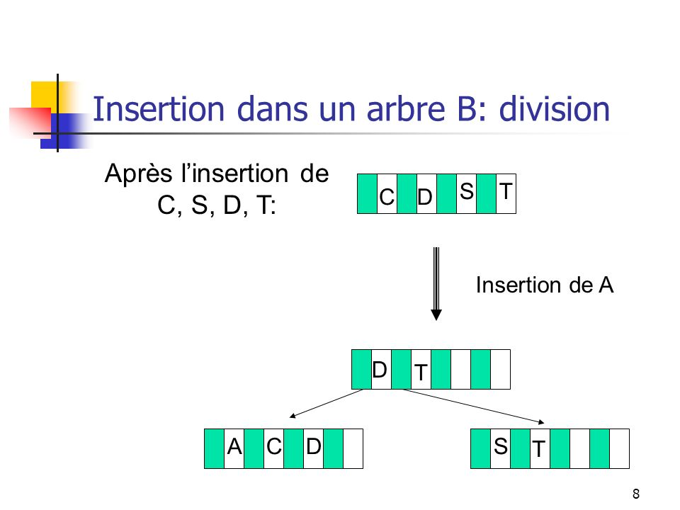 Insertion dans un arbre B: division