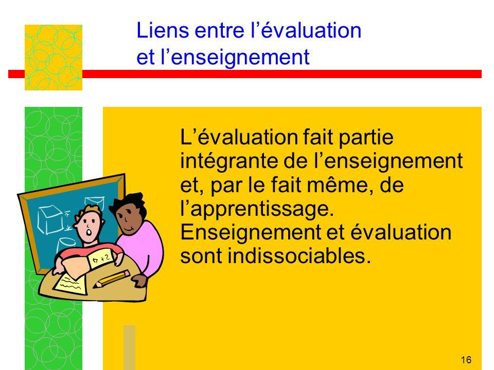 Liens entre l'évaluation et l'enseignement