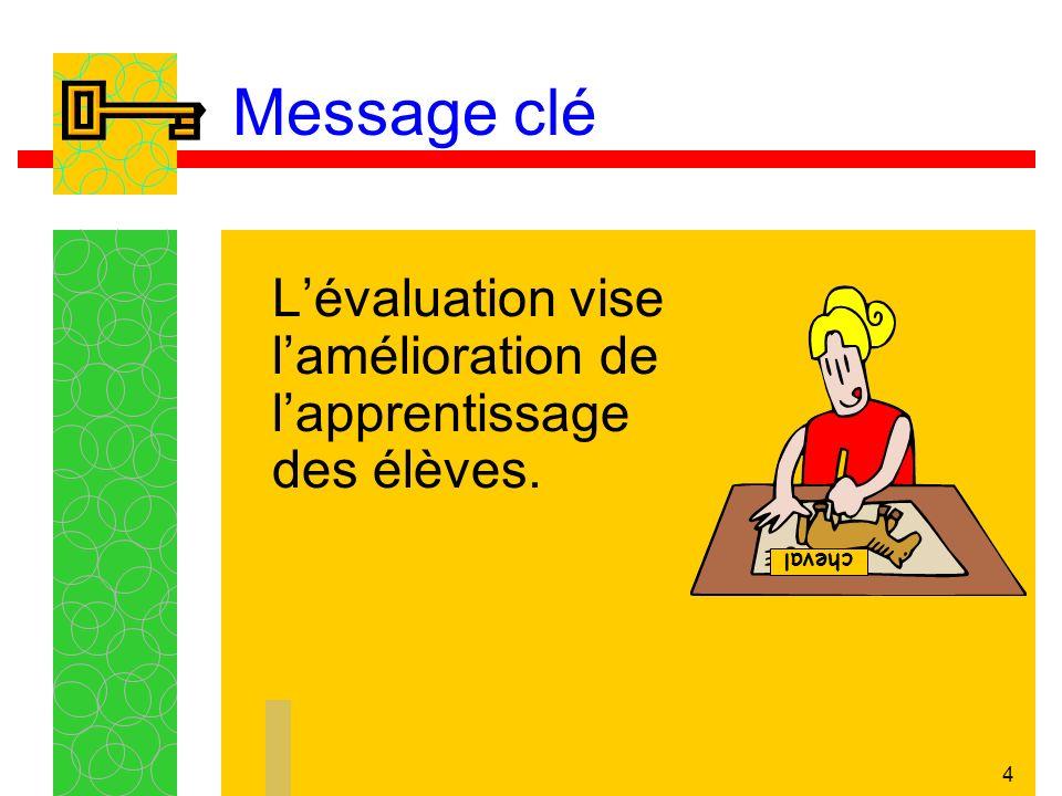 Message clé L'évaluation vise l'amélioration de l'apprentissage des élèves. cheval