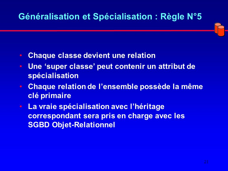 Généralisation et Spécialisation : Règle N°5