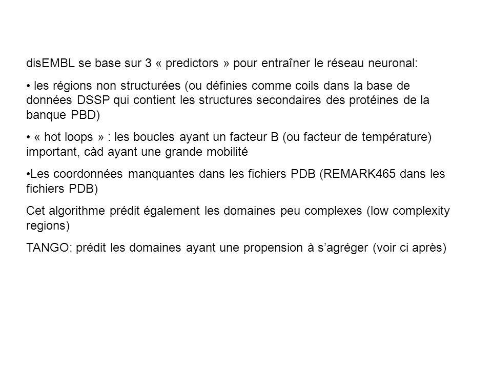 disEMBL se base sur 3 « predictors » pour entraîner le réseau neuronal: