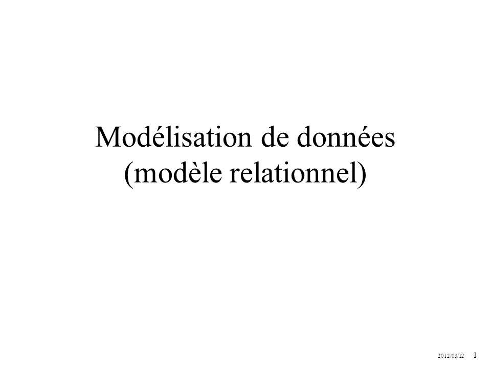 Modélisation de données (modèle relationnel)