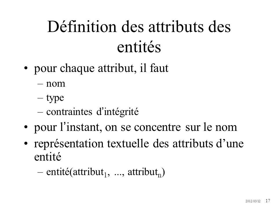 Définition des attributs des entités