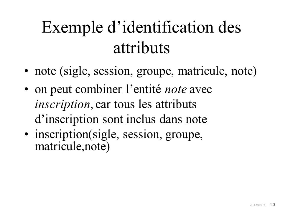 Exemple d'identification des attributs
