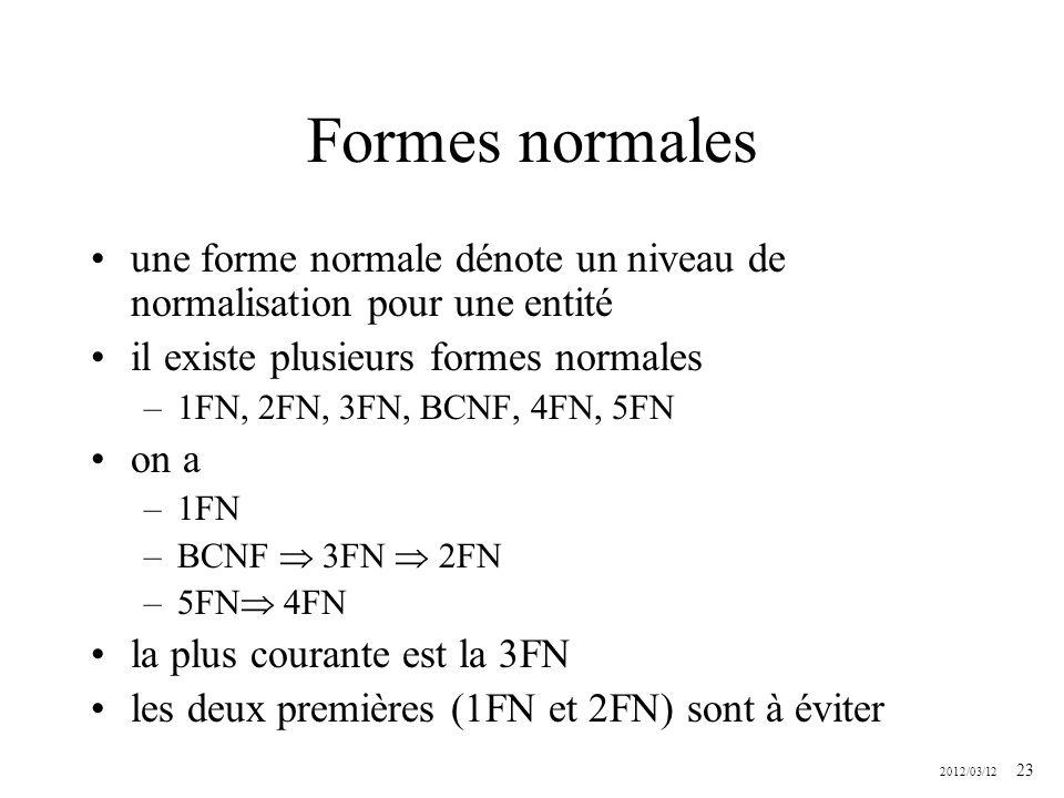 Formes normales une forme normale dénote un niveau de normalisation pour une entité. il existe plusieurs formes normales.