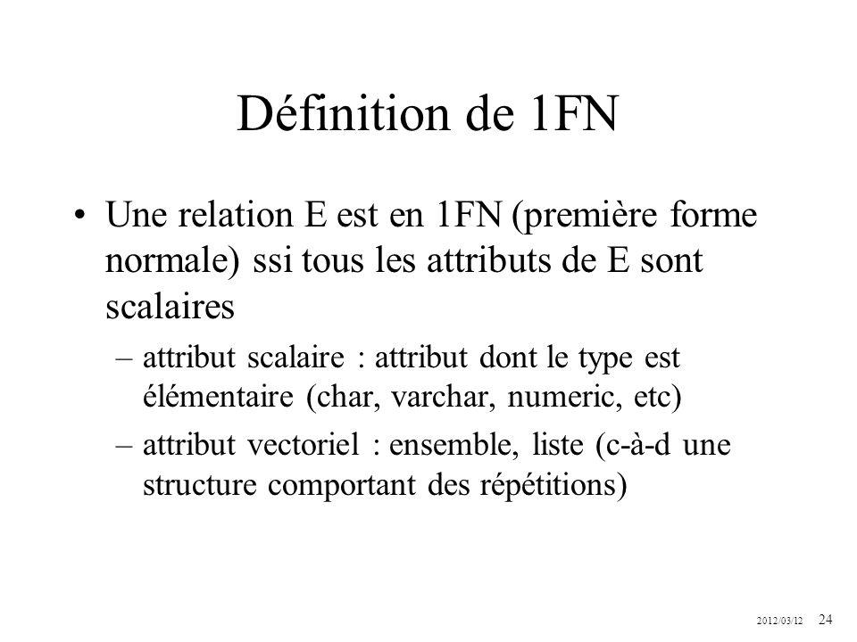 Définition de 1FN Une relation E est en 1FN (première forme normale) ssi tous les attributs de E sont scalaires.