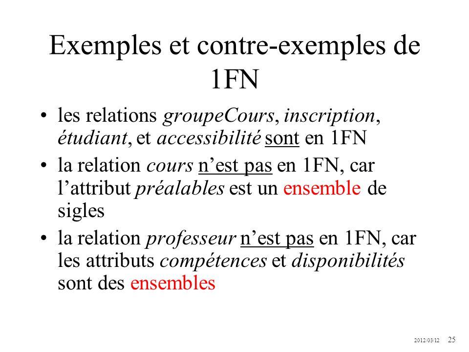 Exemples et contre-exemples de 1FN