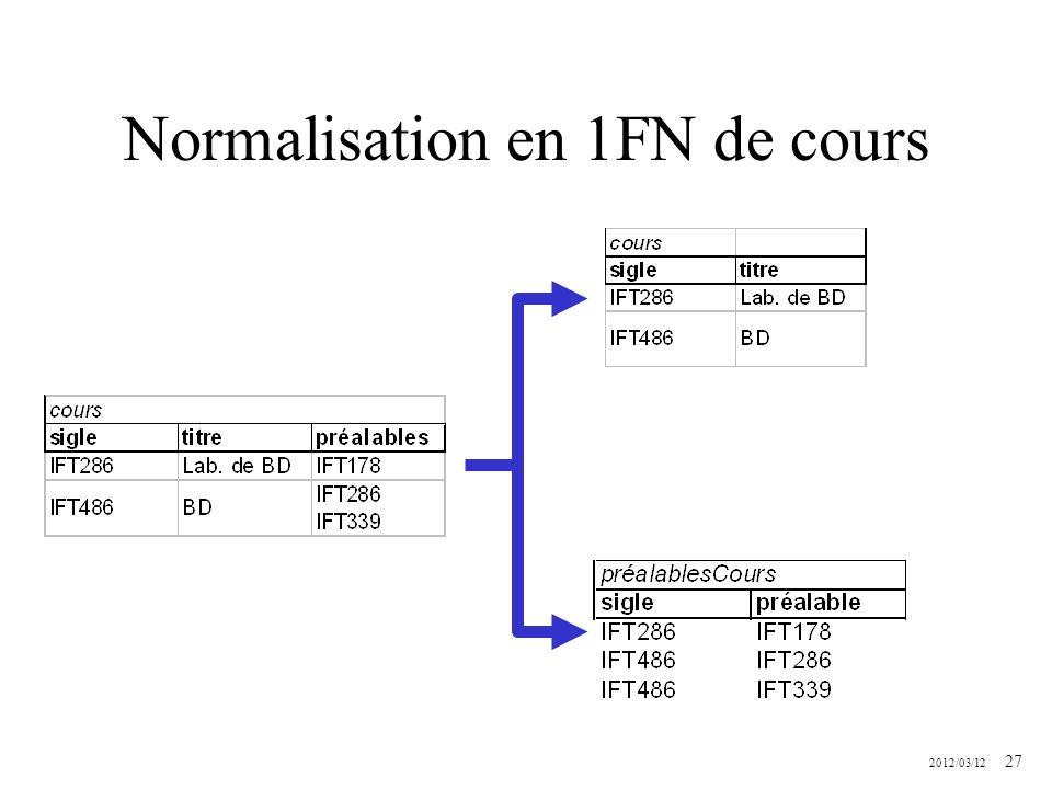 Normalisation en 1FN de cours