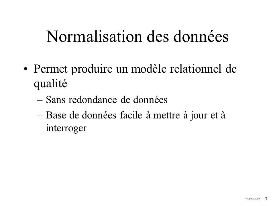 Normalisation des données