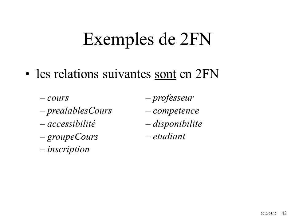 Exemples de 2FN les relations suivantes sont en 2FN cours