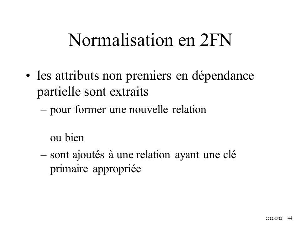 Normalisation en 2FN les attributs non premiers en dépendance partielle sont extraits. pour former une nouvelle relation ou bien.