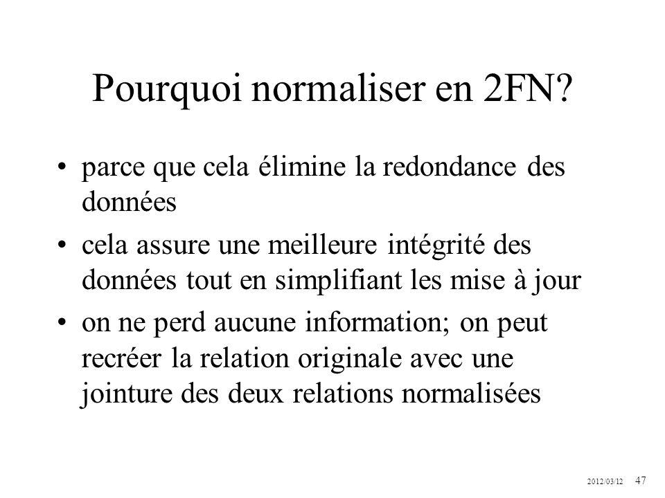 Pourquoi normaliser en 2FN