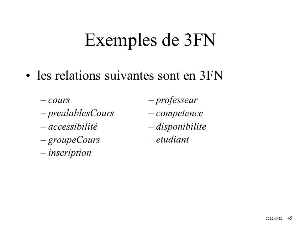 Exemples de 3FN les relations suivantes sont en 3FN cours
