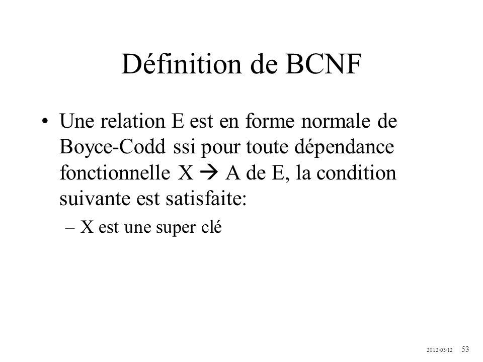 Définition de BCNF