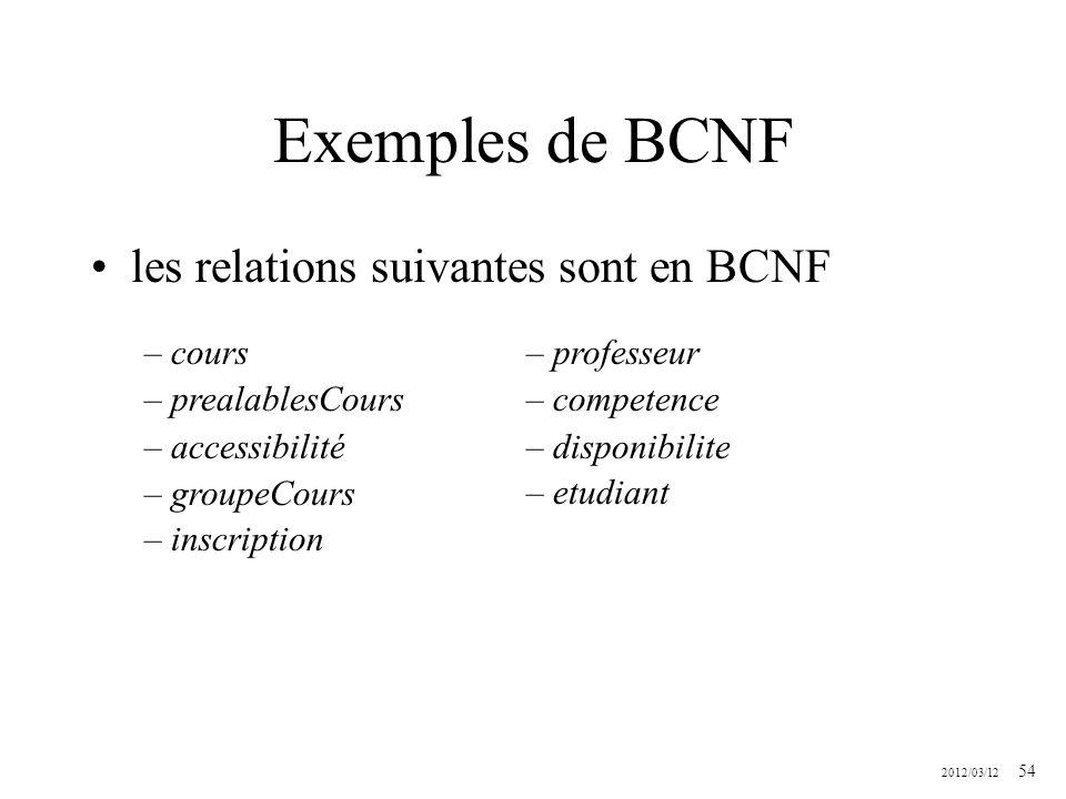 Exemples de BCNF les relations suivantes sont en BCNF cours