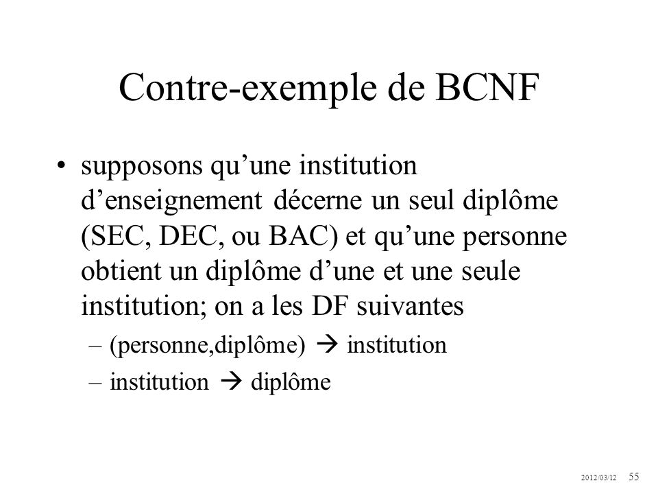 Contre-exemple de BCNF
