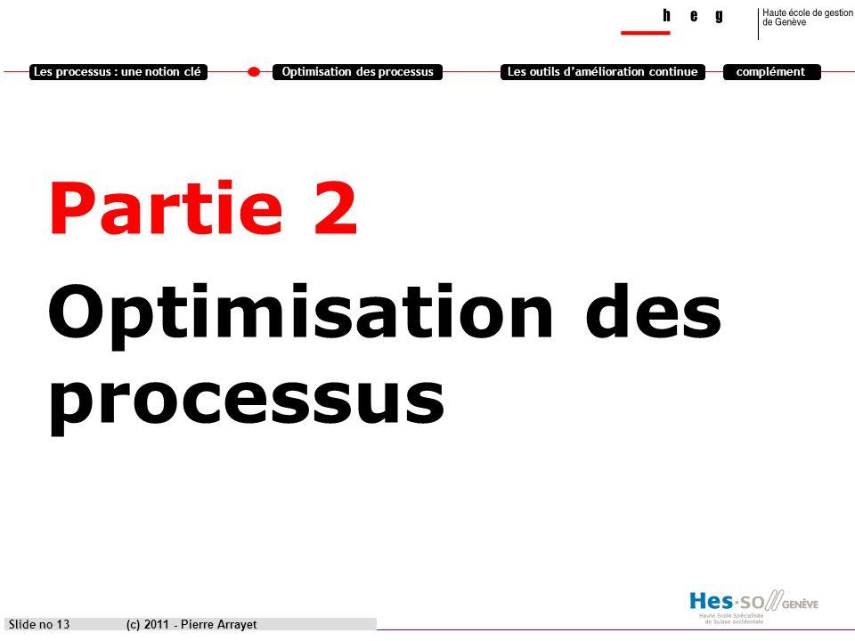 Partie 2 Optimisation des processus