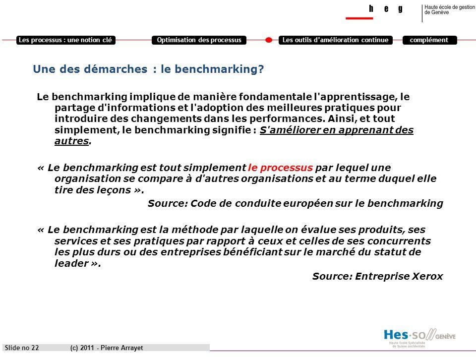 Une des démarches : le benchmarking