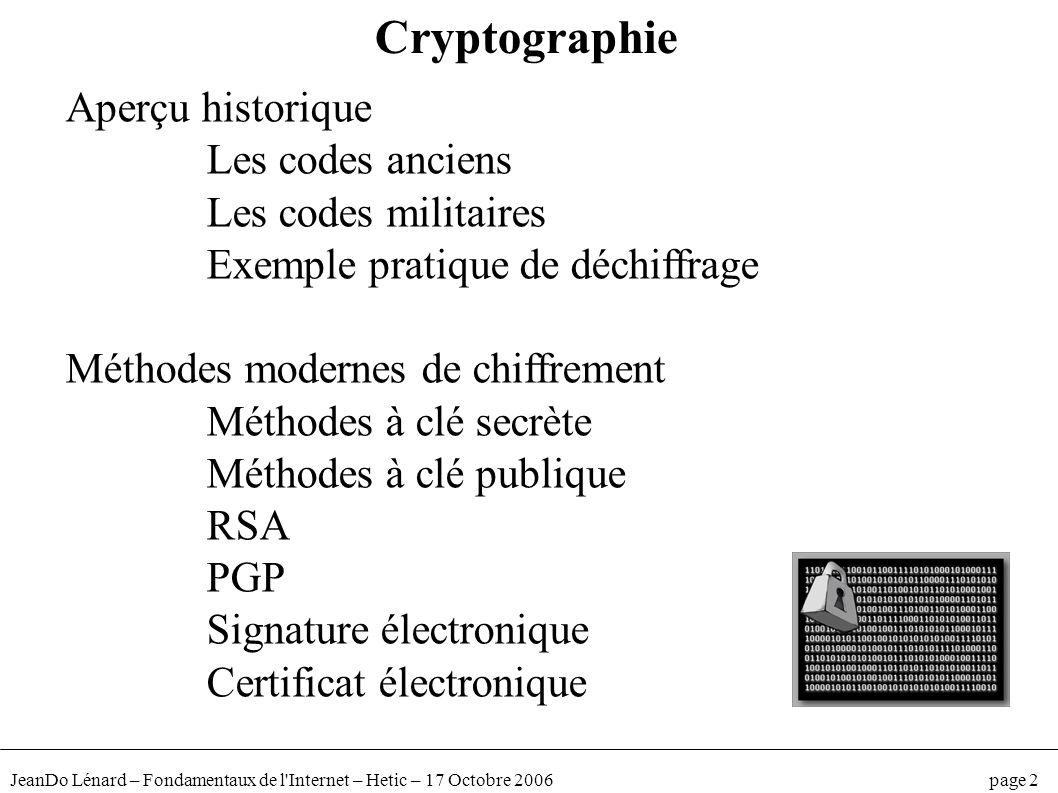 Cryptographie Aperçu historique Les codes anciens Les codes militaires