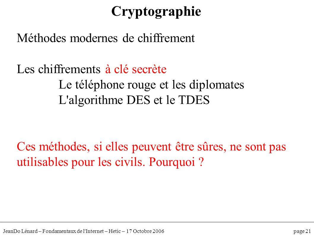 Cryptographie Méthodes modernes de chiffrement