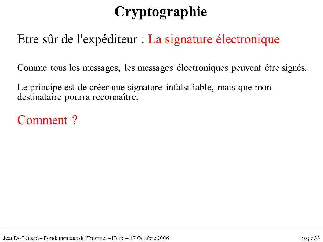 Cryptographie Etre sûr de l expéditeur : La signature électronique